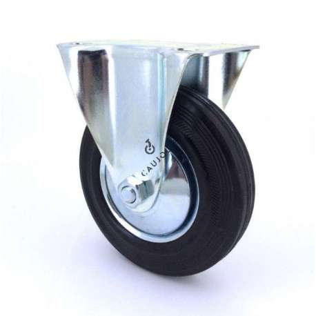 Industrial black rubber castor wheel 125 mm diameter with fixed plate 1