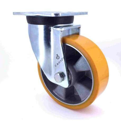 Swivel castor wheel polyurethane aluminium rim with brake 200 mm diameter load 500KG - S76AR 200