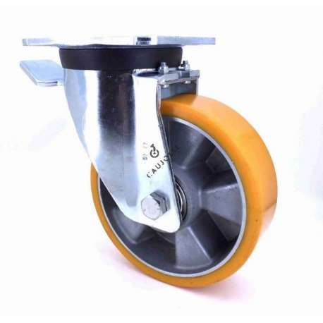 Swivel castor wheel polyurethane aluminium rim with brake 160 mm diameter load 500KG - S76AR 160AF