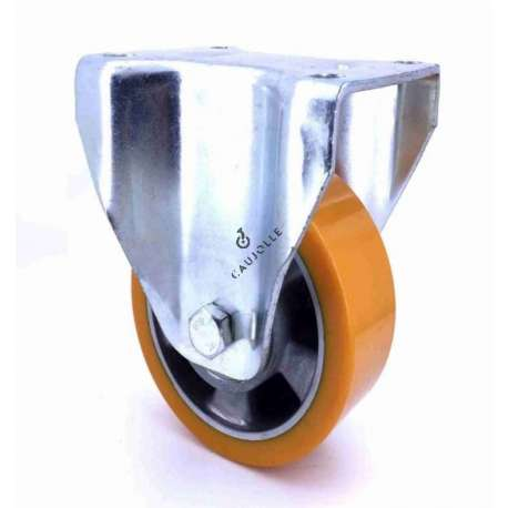 Fixed-position castor wheel polyurethane aluminium rim with brake 160 mm diameter load 500KG - S77AR 160