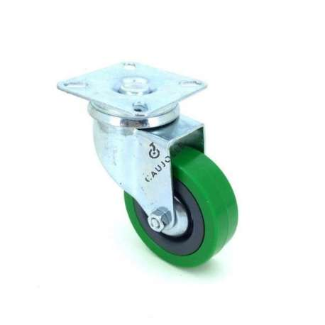Industrial castor wheel 65 mm diameter with plate non-marking rubber green colour 1