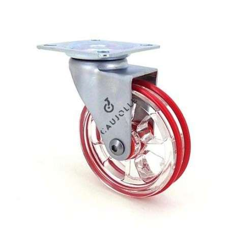Transparent red designer castor wheel 75 mm diameter swivel plate 1