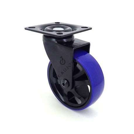 Designer castor wheel in die-cast aluminium Black & Blue 75P 1