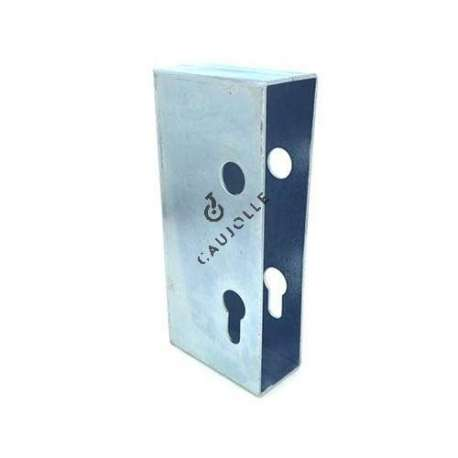 Door lock housing cover in galvanised steel 1