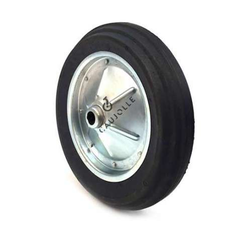 PUNCTURE-PROOF HARD RUBBER WHEELBARROW WHEEL WITH STEEL RIM 400 MM DIAMETER 20 MM BORE S600
