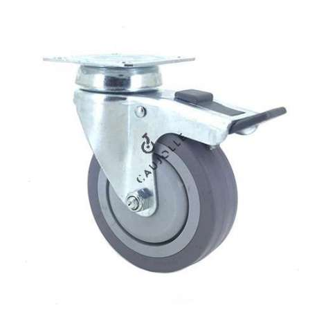 Industrial castor wheel with plate and brake in non-marking rubber 100 mm diameter 1