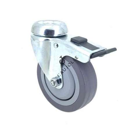 Industrial castor wheel with eye and brake in non-marking rubber 100 mm diameter 1
