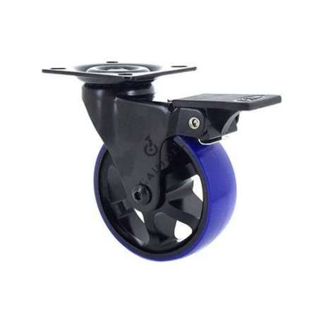 DESIGNER CASTOR WHEEL WITH BRAKE BLACK & BLUE 75PAF