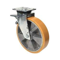Pivoting swivel caster with brake, polyurethane rim in aluminium, diameter 250 mm max load 1000 kg - S78ARAF 250