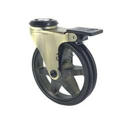 CASTOR WHEEL RETRO DESIGN WITH BRAKE GOLD'STYL 100OAF