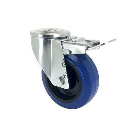 SWIVEL CASTOR IN SUPPLE RUBBER 80 MM DIAMETER MAX LOAD 130 KG