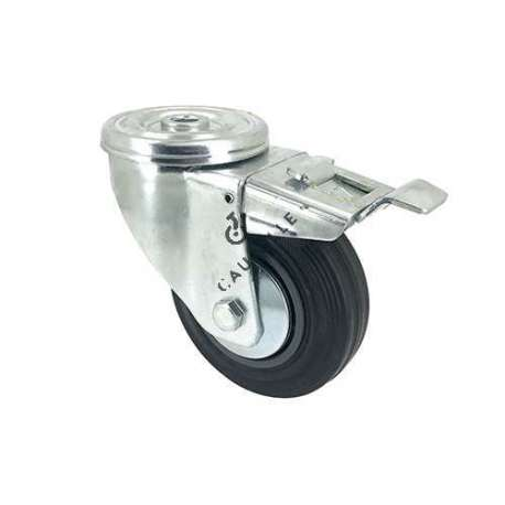 Rubber castor wheel with plate and brake 80 mm diameter S2C