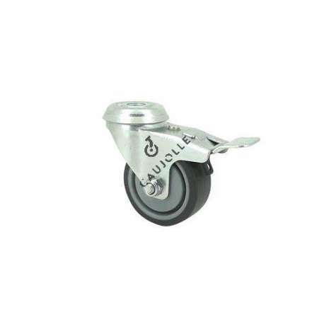 Community castor wheel in rubber with eye and brake 50 mm diameter S14 PAF